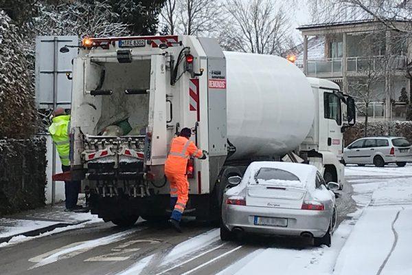 Müllabfuhr im Winter