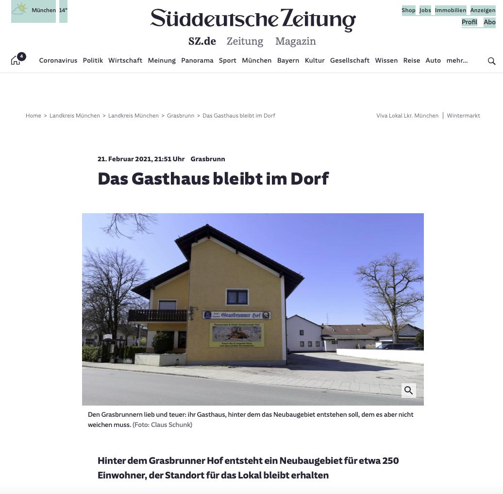 SZ Das Gasthaus bleibt im Dorf
